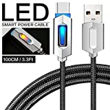 Pawaca Intelligentes USB-Ladekabel, 1M/3.2FT Typ-C Nylon Geflochten Syn Auto-Trennung Ladegerät Kabel mit LED-Anzeige für MacBook, Google Pixel, Nexus, Samsung Galaxy(Schwarz)
