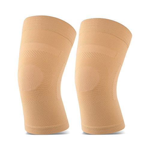 Knieschützer, 1 Paar, leichte Kniestütze Fit für Männer und Frauen, Knie Kompression Ärmel Unterstützung für Schmerzlinderung, Gelenkschmerzen, Arthritis, Laufen, Sport, Meniskusriss, Verletzung Recovery. Beige XX-Large