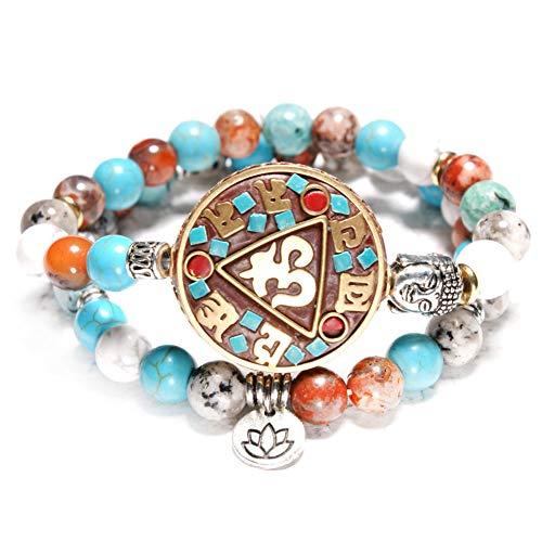 WYLSZ Armband Naturstein Perlen Buddhismus Nepal Lotus Buddha Statue Set Armband f¨¹r Frauen M?nner Ethnische Yoga Religi?se Schmuck Geschenke