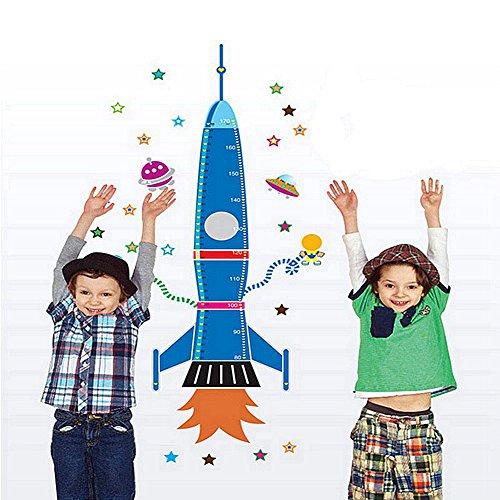 Minuya Rakete Rocket Raumfahrzeug Stern Körpergröße Messen Kinder Kinderzimmer Haus Meteor Aebnehmbar Kreativ Romantisch Wandtattoo Wandsticker Hause DIY Aufkleber Blau Tapete