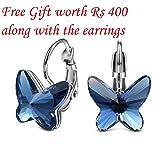 #9: Tia Jewels Swarovski Elements Blue Metal Butterfly Hoop Earrings For Women