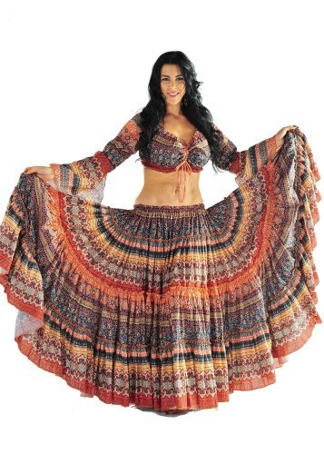 Miss Belly Dance Belly Dance Design 25 Yard Skirt - Orange