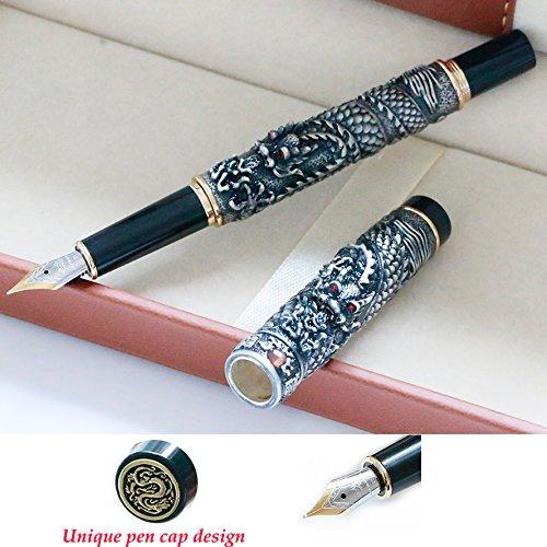 Pluma estilográfica Jinhao Dragon tamaño mediano de 18 KGP con bolígrafos de tinta para hombre