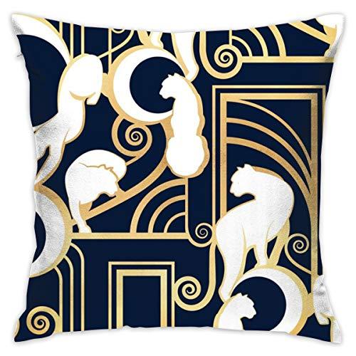 atopking Déco Gatsby Panthers, Normale Leiter, Marineblau und Gold_4746 Kissenbezüge aus Baumwollpartikeln, weich, 18 x 18 cm, für Auto, Schlafzimmer, Sofa
