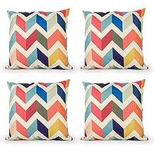 Top Finel Multicolor Geom¨¦trica Lino Fundas Cojines para Cama Decorativos Almohadillas para Sillas Sofa Conjunto de 4,45 x 45 cm,Barrera