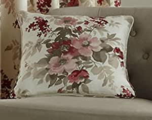 Paese Verde, motivo floreale rosso foderato in cotone nastro 46 66 90 108, Cotone, Red, Cushion Covers - Pair
