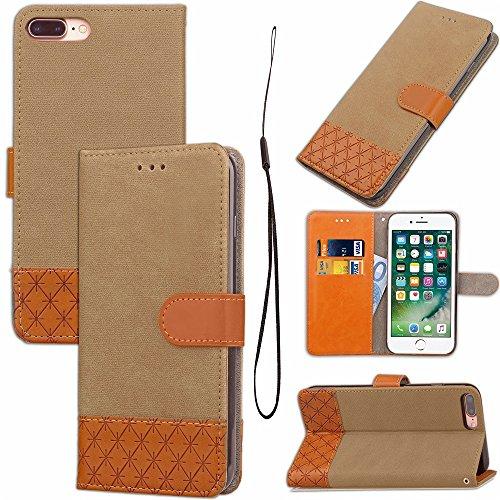 Mixed Colours Retro Premium PU Ledertasche 360 ° Schutz Wallet Stand Cover Case mit Lanyard & Card Slots für iPhone 7 Plus ( Color : Rose ) Beige