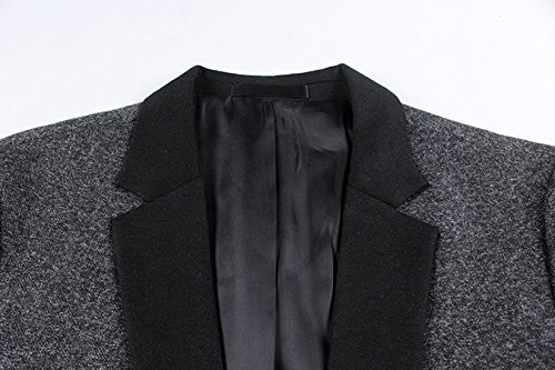 Insun–Giacca notch risvolto monopetto Slim contrasto Blazer giacca Grey