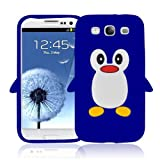 Brand New High Quality Samsung Galaxy S3 SIII I9300 Blue Penguin Design Silicone Case Cover + Free Screen Protector - Part Of Fab Mobile Phone Accessories Range