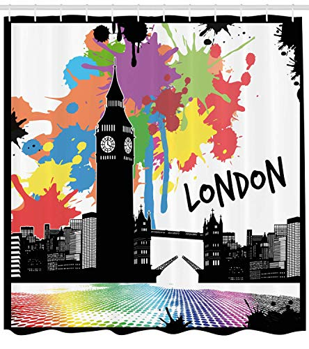 tgyew Retro Shower Curtain, Vintage London City View with Color Splashes Poster Style Grunge Urban Artwork Image, Fabric Bathroom Decor Set with Hooks, 72x72 inches Extra Long, Black Purple