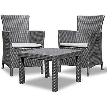 Amazon.de: Sitzgarnitur + 2 Sessel und Tisch Gartenset Gartenmöbel ...
