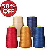 KING DO WAY Naehgarn 24 farben 1000 Yards polyester naehgarne spulen naehmaschine zubehoer Naehmaschinengarn (Blue,red,orange,pearl)