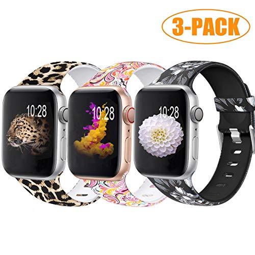Zekapu Armband Kompatibel mit Apple Watch 38mm 42mm 40mm 44mm für Frau Männer, Dauerhaft Wasserdicht Muster Gedruckt Silikon Ersatz Band, Leopard/Bunte Wolke/Graue Blume Apple-pda