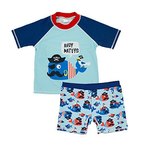 Echinodon Kleinkind Bade-Set Kurzarm Shirt + Badehose Baby Schwimmanzug Badeanzug für Jungen Badebekleidung A - Kleinkinder-badebekleidung