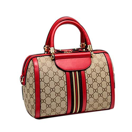 Medium Boston Handtasche (Kunstleder Handtasche Damenhandtasche, Einfache Umhängetasche, Große Handtasche Aus Boston (28 * 15 * 19CM), Braun,M:(26CM*14CM*18CM)-Red)