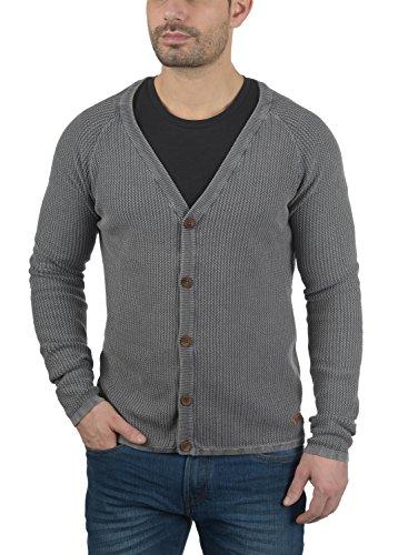 SOLID Tebi Herren Strickjacke Cardigan Grobstrick mit V-Ausschnitt und Knopfleiste aus 100% Baumwolle Meliert Grey Melange