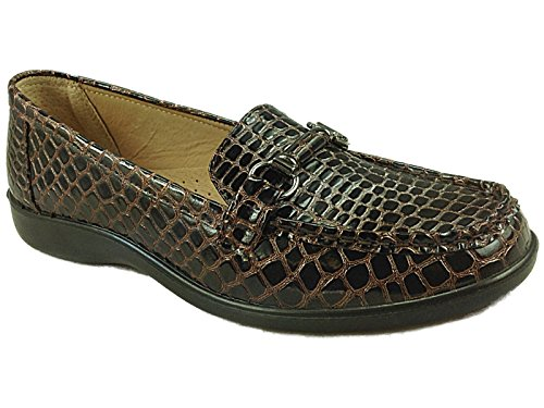 Ladies Fern Cushion Walk Patent Faux Croc Effect Flat Wedge Loafer Moccasin...