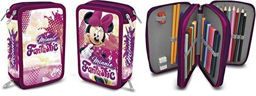 Schüleretui mit 3 Reißverschlüssen Disney Minnie Mouse Motiv ()