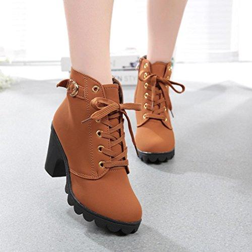Vovotrade Delle donne tacco alto Stivaletti Scarpe fibbia della piattaforma Giallo
