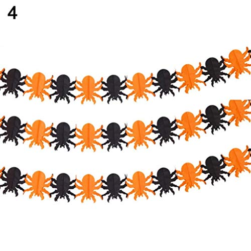 VektenxiPremium Qualität Halloween Papierspinne Schädel Ghost Bat Kürbis Girlande Bunting Banner Decor Prop 4