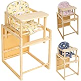 TecTake BABY CHILD TODDLER HIGH CHAIR RECLINE FEEDING SEAT TABLE + CHAIR WOODEN - different colours - (Yellow)
