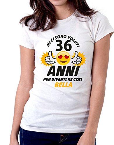 Tshirt Compleanno Mi ci sono voluti 36 anni per diventare così bella - eventi e ricorrenze - ideale come regalo di compleanno - in cotone Bianco