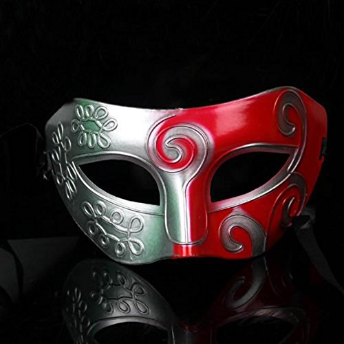 Tinksky Herren Masquerade Masken Party Masken Retro römischen griechischen Stil für Halloween-Kostüm Fancy Dress Ball (Silber + Rot) (Kostüme Ball Herren Masquerade)
