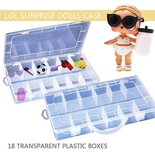 JIUZHOU Aufbewahrungsbox für Spielzeug, 18 Fächer, Zubehör, für LOL Überraschungspuppen (Spielzeug Großhandel Blinkende)