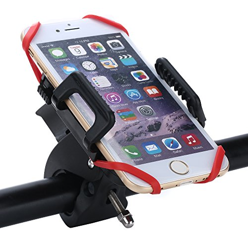 Soporte-Mvil-Bicicleta-o-Motocicleta-Rixow-con-Montaje-en-la-Horquilla-y-Cuas-Antideslizantes-de-Goma-para-Mviles-Inteligentes-GPS-y-Otros-Dispositivos-Negro-Banda-de-Silicona-Roja