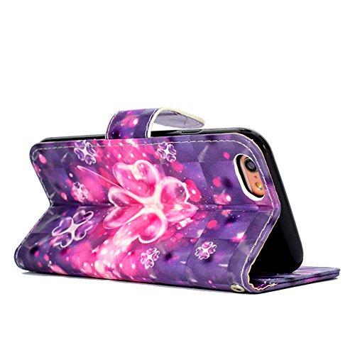 iPhone 7 Leder Brieftasche, iPhone 7 Wallet Case Cover, Aeeque® 3D Full Body Premium Trennbar Tragegurt [Standfunktion Kartenfächer] Hervorragend Rosa Meer der Wolken Muster Kunstleder Schale Handytas 3D Bunte Muster #28