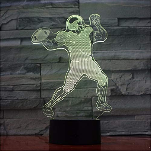 Gwgdjk Rugby-Spieler 3D Lampe 5V Usb Led Nachtlampe Acryl Lava Lampe Rugby Deco Nachtlicht Beste Nizza Geschenk Für Fußballfan