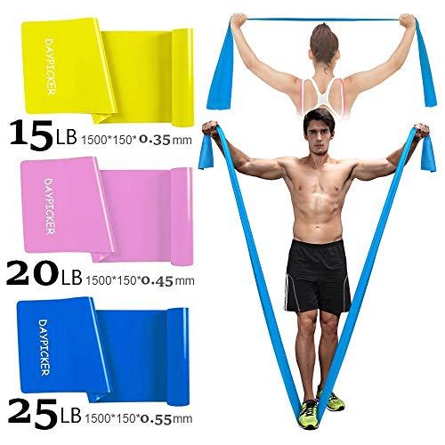 Daypicker bande elastiche fitness, 1.5 m fasce elastiche con 3 livelli di resistenza, fascia elastica esercizi ideale per yoga, pilates, allenamento di forza, fisioterapia e riabilitazione(3 pezzi)