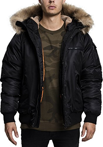 Urban Classics Herren Hooded Heavy Fake Fur Jacket Bomber Jacke, Schwarz (Black 7), Medium Fake-pelz