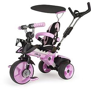 INJUSA - Triciclo Evolutivo City Max Color Rosa Recomendado para niños +6 Meses con Mango de Dirección Parental, Techo Solar y Asiento regulable