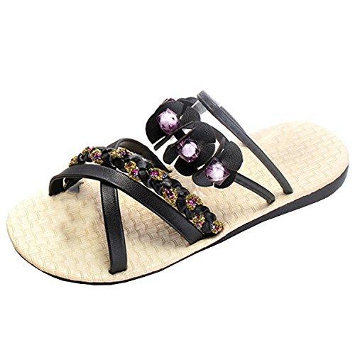 Azbro Women's Bohemian Open Toe Floral Rhinestone Strappy Flat Slippers Black