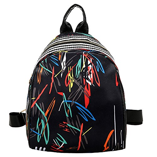 Skang Deman Rucksack klein Backpack Mode Wild Bedruckte Mit Reißverschluss Lässiger Daypacks Handtasche Schüler Bag Schultaschen Für Reisen(Einheitsgröße,D)