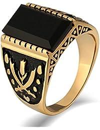 Aooaz Gioielli anello fascia anello acciaio uomo Stile graduato Doppia croce gemma anello gotico anelli fidanzamento anello biker
