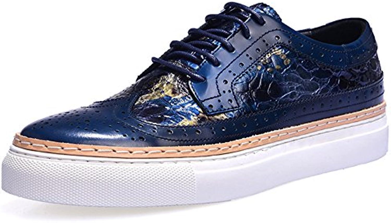 Bullock Herrenschuhe Geschnitzt Freizeitschuhe Dick Soled Mode Herren Leder Flut Schuhe Blue 44