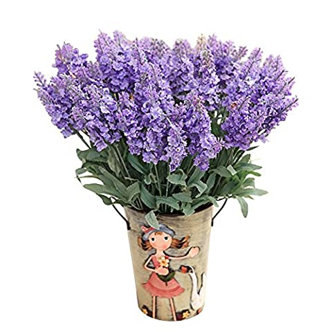 Fletion 10 Pieces Artificial Provence Lavender Flowers Bouquets for Romantic Weddings Party Decor Home Garden Wall Fence Balcony Craft DIY - Each piece contains 5 twigs 10 heads of lavender