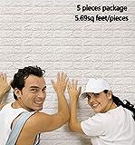 Arthome 3D Carta da Parati Mattoni Bianco,3d Muro Pannelli, 3d Muro Adesivi Pannelli,Carta da Parati per Cucina,Ufficio, Bagno, Soggiorno, Sfondo TV(5 pezzi -28 piedi quadrati)