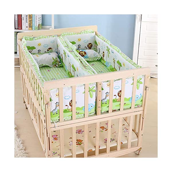 VBARV Solid Wood Environmentally Friendly Paint-free Twin Crib, Baby Double Child Bed, Queen Size Bed, Matching Seven-piece Set VBARV Environmentally friendly, no paint, made of pure solid wood, it is really for the health of the baby! Safe care, close to the natural colors, unique design style set the essence of a lifetime. Anti-corrosion and insect-proof, strong durability, anti-interference aging, corrosion resistance, water resistance, good coloration. 2