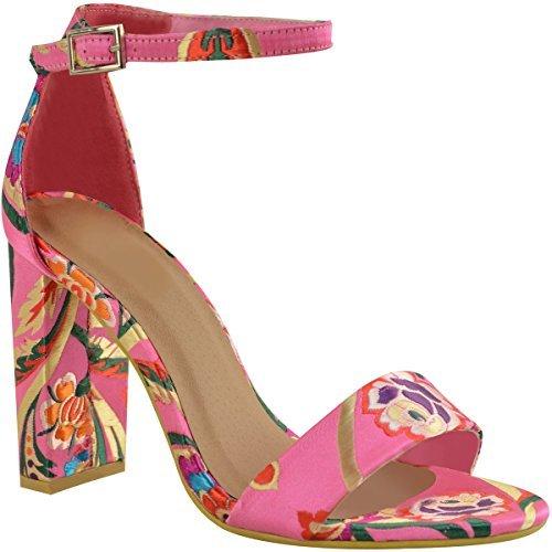Fashion Thirsty Mujer Floral Tacón EN Bloque Alto Tobillo Sandalias de Tiras Fiesta Zapatos de Noche - Rosa Fucsia Satén, 39
