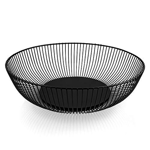 """HEYNNA® """"Pure"""" Obstschale aus Edelstahl in schwarz matt/Metall Obstkorb mit großem Fassungsvolumen - Skandinavische Deko - 28cm"""