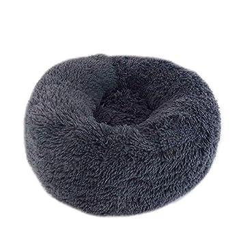 Mooyod Coussin en Forme de Donut pour Chat ou Chien, Gris foncé, 110 cm