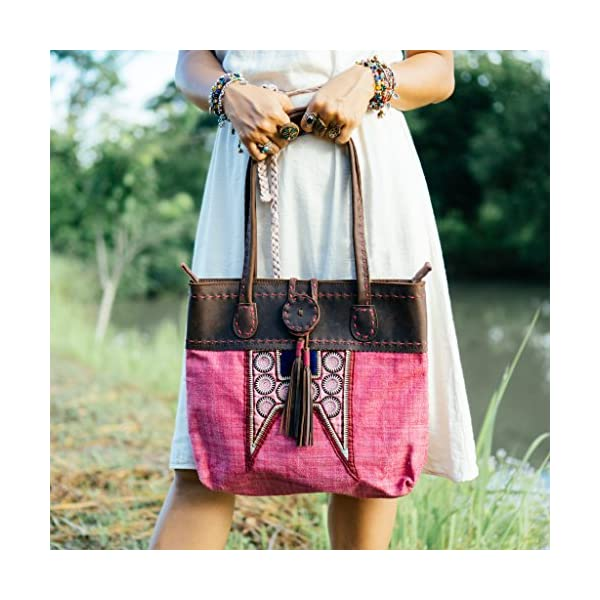 Changnoi Hmong Sun Beach Tote Bag with Hemp Fabric in Pink, Decoration with Tassels, Ethnic Shoulder Bag with Leather, Boho Handbag - handmade-bags