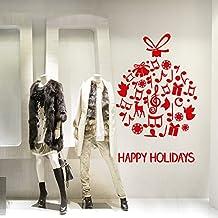 NT0355 Adesivi Murali - Pallina Happy Holidays - Vetrofanie natalizie - Misure 82x120 cm - rosso - Vetrine negozi per Natale, stickers, adesivi - Happy Holidays Disegno