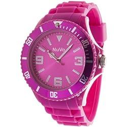 Nuvo - NU13H04 - Unisex Armbanduhr - Quartz - Analog - Pinkes Zifferblatt - Pinkes Armband aus Silikon - Modisch - Elegant - Stylish