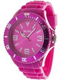 NuVo - NU13H04 - Montre Mixte tendance - Quartz Analogique - Cadran Rose - Bracelet Silicone Rose