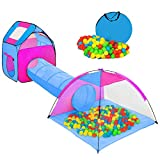 Henada Spielzelt Spielhaus 3-Teiliges mit Krabbel Tunnel 200 Bälle Bällebad