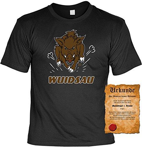 Lustiges Sprüche T-Shirt mit Gratis Urkunde WUIDSAU Geschenkartikel Geschenkidee Fun T-Shirt Fun Shirt Jäger Jagdshirt Jagd Leiberl Schwarz